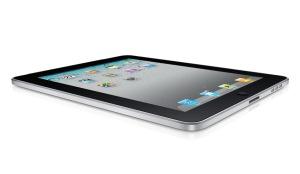 iPad layed flat on white background