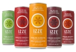 5 Izze juice cans lined up in green, red, yellow, and purple